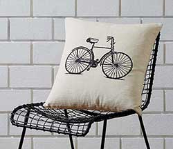 Along for the Ride Bicycle Decorative Pillow