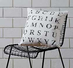 Alphabet Creme Accent Pillow (with Down Fill)