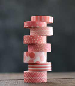 Patterned Washi Tape in Coral (Pack of 8)