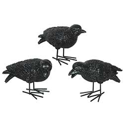 Black Glittered Crow Figurines (Set of 3)