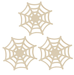 Spiderweb Unfinished Wood Cutouts (Set of 3)