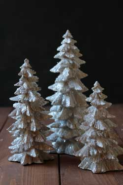 White Glittered Trees (Set of 3)