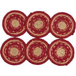 Cunningham Red Braided Coasters (Set of 6)