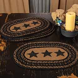 Farmhouse Braided Placemats with Stars (Set of 6)