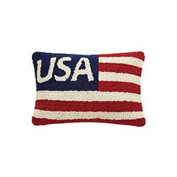 USA Hooked Throw Pillow