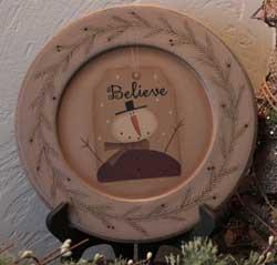 Believe Snowman Plate
