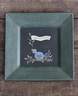 Cherish Family Primitive Plate with Bluebird