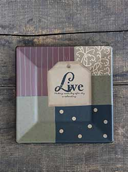 Live Inspirational Tag Square Plate