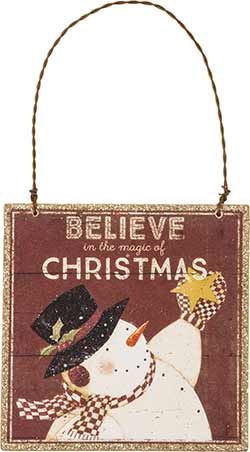 Believe in Christmas Sign Ornament