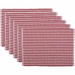 Tara Red Ribbed Placemats (Set of 6)