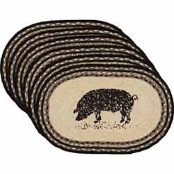 Sawyer Mill Pig Braided Placemats (Set of 6)