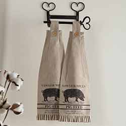 Sawyer Mill Charcoal Pig Button Loop Kitchen Towels (Set of 2)