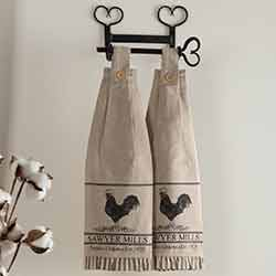 Sawyer Mill Charcoal Poultry Button Loop Kitchen Towels (Set of 2)