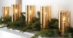 Antiqued Lighted Pillar Candle Strand - Gold