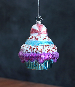 Blue Cupcake Ornament