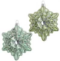 Mint Green or Aqua Blue Glittered Snowflake Ornament