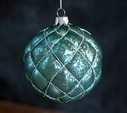 Blue Antiqued Beaded Ornament