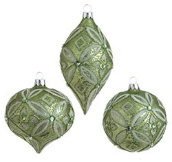Lime Green Antiqued Glittered Ornament