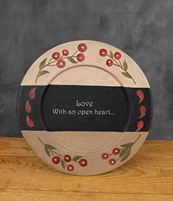 Love With An Open Heart Primitive Plate