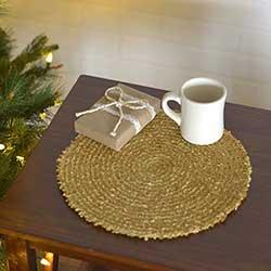 Dyani Gold Round Placemats (Set of 6)