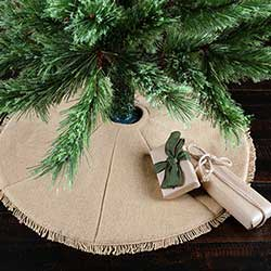 Festive Natural Burlap Christmas Tree Skirt - Mini
