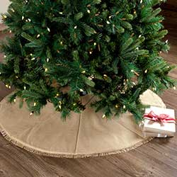 Festive Natural Burlap Christmas Tree Skirt - 48 inch