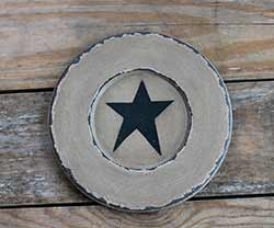 Chippy Paint Wood Plate with Black Star