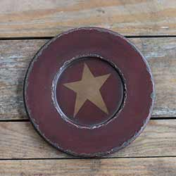 Chippy Paint Wood Plate with Mustard Star - Red