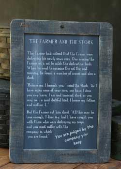 Farmer and Stork Folk Tale Blackboard