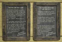 Fighting Roosters Folk Tale Blackboard
