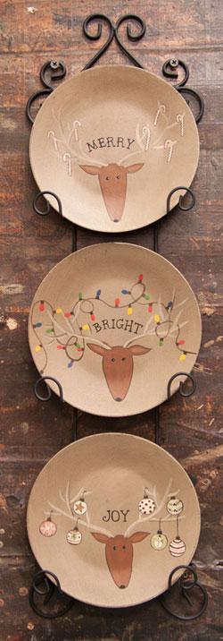 Merry, Joy, Bright Reindeer Plates (Set of 3)
