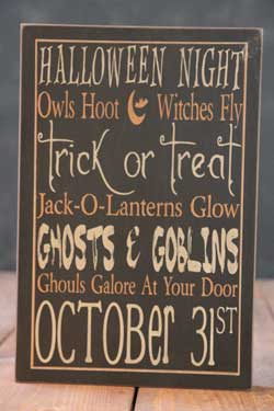Ghosts & Goblins Halloween Box Sign - Black