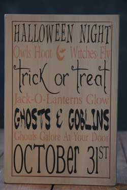 Ghosts & Goblins Box Sign - Tan