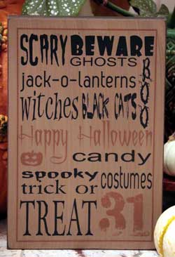 Happy Halloween Box Sign - Tan