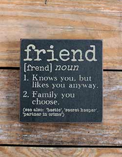 Friend Definition Wood Sign