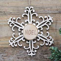 Snowflake Wood Slice Ornament - Noel