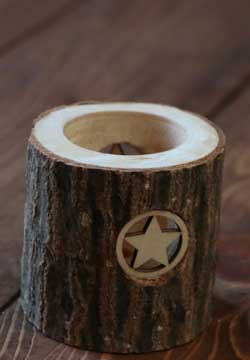 Wooden Tealight Holder with Stars