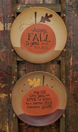 May God Bless You and Happy Fall Plates (Set of 2)