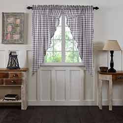 Annie Buffalo Grey Check Prairie Curtain