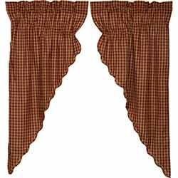 Burgundy Check Prairie Curtain (63 inch)