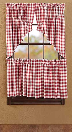 Buffalo Check Red Cafe Curtains - 24 inch Tiers