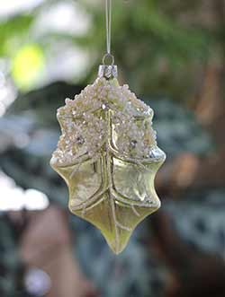 Glittered Leaf Ornament - Longer