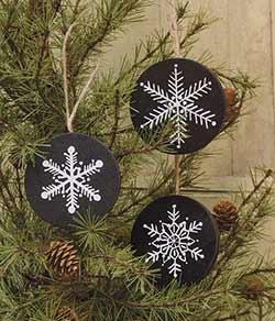 Primitive Snowflake Ornaments (Set of 3)