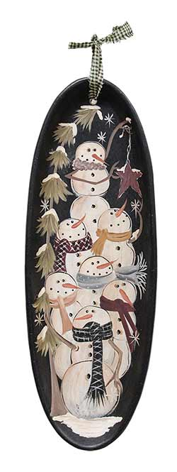 Snowman Pile Oval Hanging Tray