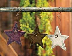 Primitive Wooden Star Ornaments (Set of 3)