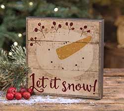 Let it Snow Snowman Box Sign