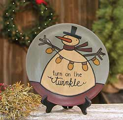 Turn on the Twinkle Snowman Plate