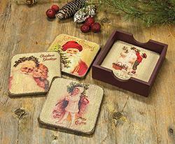 Old Fashioned Christmas Coaster Set