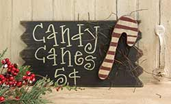 Candy Canes 5 Cents Wood Sign