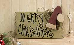 Merry Christmas Sign with Santa Hat